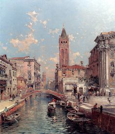 A View in Venice, Rio S. Marina - Franz Richard Unterberger - WikiPaintings.org