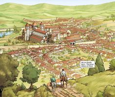 The Achaean citadel of Mycenae during the Trojan war era (Greece) Fantasy City Map, Fantasy Town, Fantasy Castle, Fantasy Places, Historical Architecture, Ancient Architecture, High Middle Ages, Merian, Medieval Life