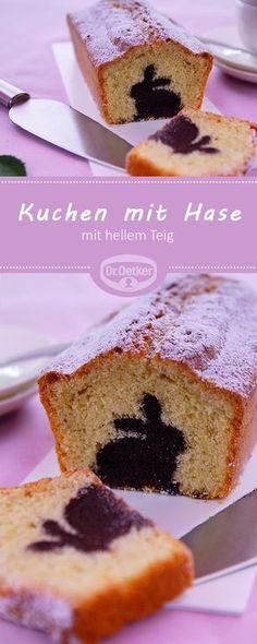 Kuchen mit Hase: Kastenkuchen mit Schokohasen im hellen Teig #ostern #osterhase #rezept