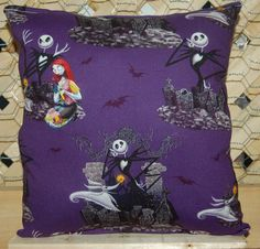 "Nightmare Before Christmas Pillow Jack Skellington & Sally Pillow HANDMADE in USA . THE PILLOW WOULD MAKE GREAT GIFT FOR BIRTHDAYS,HOLIDAYS, NAP TIME, CAR RIDES, HOSPITAL STAYS, DAY CARES & MORE. ~BRAND NEW~ ~HANDMADE~ Nightmare Before Christmas This Cuddly Cotton/Flannel Pillow is approximately 10"" X 11"" Also perfect for nap time, car seat, traveling, stroller rides, kids & teens rooms It is stuffed with 100% Hypo-Allergenic Premium Polyester Fiber-Filled The fabric is Not the same on…"