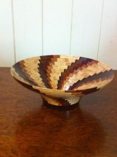 Southwestern Style Segmented Wooden Bowl: Navajo Wedding Basket