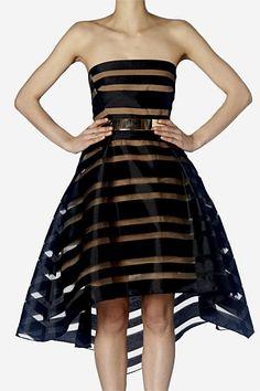 Black Stripe Strapless Mini Carla Zampatti SS 14