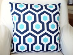 OUTDOOR Nautical Decorative Throw Pillows Cushion Covers Navy Aqua White Geometric Magna - One or More ALL SIZES on Etsy, $14.00