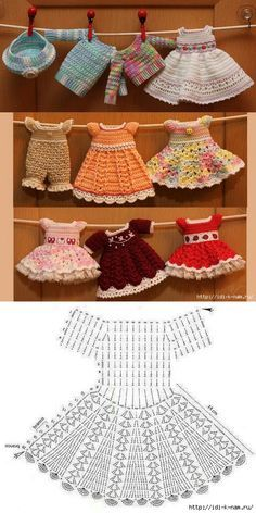 El vestido tejido para la muñeca // Татьяна Володина