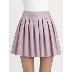 Alice + Olivia Box Pleat Leather Skirt ($495) ❤ liked on Polyvore