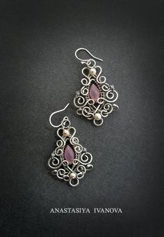 earrings with chalcedony by nastya-iv83.deviantart.com on @deviantART