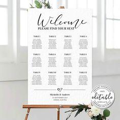 Wedding Seating Chart Template Modern Seating Chart Printable   Etsy Table Seating Chart, Wedding Table Seating, Wedding Menu, Wedding Signs, Wedding Cards, Free Wedding Templates, Seating Chart Wedding Template, Menu Template, Wedding Announcements