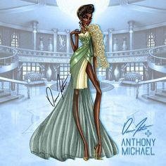 Illustrations by Trendy by Daren J + Anthony Michael Tiana by Daren J Tiana And Naveen, Disney Princess Tiana, Disney Princess Fashion, Princess Merida, Disney Inspired Fashion, Disney Style, Disney Fashion, Tangled Princess, Princess Aurora