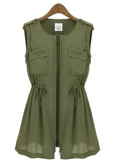 Army Green Irregular Drawstring Sleeveless Flax Blend Jacket CiChic- For more amazing finds and inspiration visit us at http://www.brides-book.com