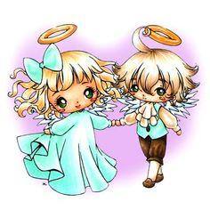 Angel & Cherub Together Digi Stamp in Digital images
