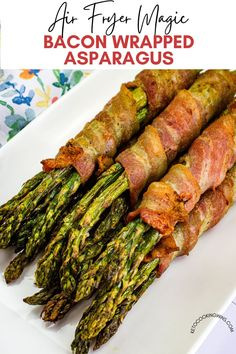 Bacon-Wrapped Asparagus in your air fryer is such a simple recipe and the flavors are WOW! Make it perfectly every time without heating up the grill or your oven! air frying | bacon | side dishes | ketogenic | low carb | gluten free | family dinner | quick meals Keto Recipes, Dinner Recipes, Bacon Wrapped Asparagus, Keto Dinner, Quick Meals, Food To Make, Side Dishes, Good Food, Tasty