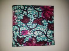 Single Mini square blue and fuchsia leaves african wax print fabric wall hanging £9.99