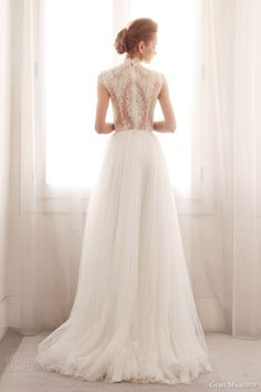 gemy maalouf wedding dresses 2014 bridal lace cap sleeve top 3239B 3759S skirt back