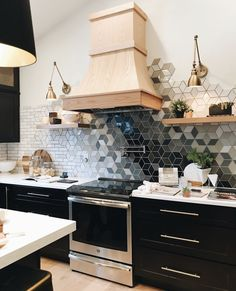 Design your home… Love this super unique backsplash and exposed shelving. What do yall think? Küchen Design, Interior Design, Design Styles, Tile Design, Kitchen Dining, Kitchen Decor, Kitchen Styling, Kitchen Backsplash, Kitchen Ideas