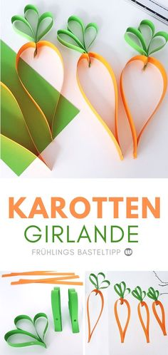 Paper Carrot Garland: Quick Spring Window Decoration - M .- Paper carrot garland: Quick spring window decorations Instructions for making a paper carrot garland # spring # crafts Diy And Crafts, Crafts For Kids, Spring Crafts, Easter Crafts, Christmas Crafts, Carrots, About Me Blog, Paper, Holiday