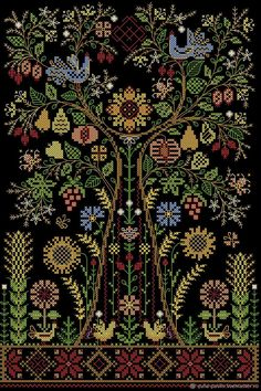 Buy Talisman-Tree Of Life. The scheme for embroidery - birds embroidery flowers Blackwork Embroidery, Folk Embroidery, Vintage Embroidery, Cross Stitch Embroidery, Embroidery Patterns, Cross Stitch Patterns, Indian Embroidery, Cross Stitch Tree, Cross Stitch Samplers