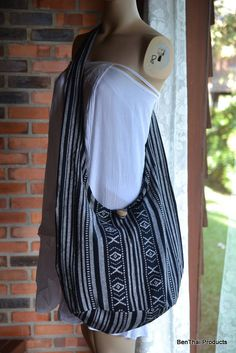 Hand Woven Cotton Bag Purse Hobo Hippie Sling by BenThaiProducts, $15.99