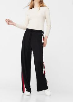 Latest trends in women's fashion. Discover our designs: dresses, tops, jeans, coats and shirts. Wide Leg Trousers, Trousers Women, Style Me, Latest Trends, Contrast, Mini Skirts, Black Leather, Feminine, Sweatpants
