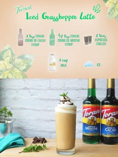 This Iced Grasshopper Latte is so simple, yet so full of flavor! We decided to… Iced Coffee Drinks, Espresso Drinks, Tea Recipes, Coffee Recipes, Creme, Torani Syrup, Italian Cream Soda, Latte Flavors, Mocha Recipe