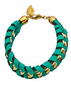 Sara Designs Turquoise Box Chain Woven Leather Bracelet