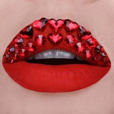 How amazing are these ruby red lips? Would definitely make a statement on Valentine's Day!