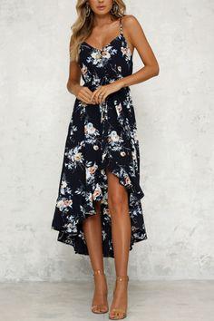 fb663ddee Spaghetti Strap Asymmetric Hem Cascading Ruffles Floral Printed Sleeve –  ebuytide Long Summer Dresses, Dress