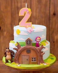Masha et Mishka birthday party 2nd Birthday Party Themes, Baby Birthday Cakes, Bear Birthday, Birthday Decorations, Masha Cake, Masha Et Mishka, Marsha And The Bear, Bear Party, Ideas Para Fiestas
