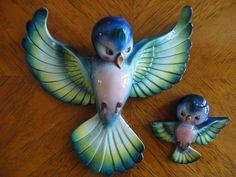 Vintage anthropomorphic japan norcrest? bluebird wall plaques lefton?napco?