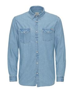 DENIM CASUAL SHIRT, Light Blue Denim j&j