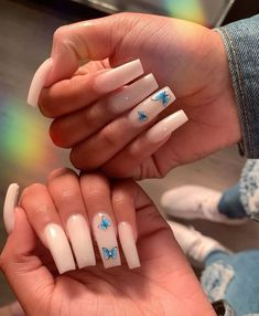 I just love butterfly nails Long Square Acrylic Nails, White Acrylic Nails, Best Acrylic Nails, Summer Acrylic Nails, Nail Swag, Cute Acrylic Nail Designs, Aycrlic Nails, Fire Nails, Butterfly Nail