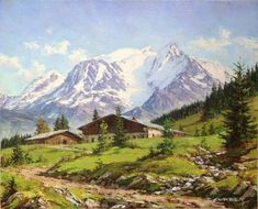 "Paul CORBET (1920-2005) ""Le Mont Blanc, La Vallée des Contamines Huile sur toile, signée bas droit. Dimensions de l'oeuvre : 41X33 cm Dimensions du cadre : 56X48 cm Mountain Art, Mountain Landscape, Landscape Paintings, Watercolor Paintings, Mountain Pictures, Winter Painting, Mountain Paintings, Green Landscape, Paisajes"