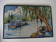 "Vintage Mexican Puebla pictorial tile mural Xochimilco by RUGERIO 16 1/2"" x 11"""