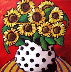 Sunflowers In White With Black Polka Dots Whimsical Folk Art Colorful Giclee PRINT                                                                                                                                                                                 More