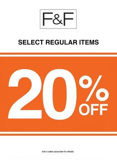 Check out some of F&F's newest promos!  Enjoy up 20% OFF on selected regular items at F&F stores nearest you for more surprises in store!  Promo available until September 11, 2016 only.  For more promo deals, VISIT http://mypromo.com.ph! SUBSCRIPTION IS FREE! Please SHARE MyPromo Online Page to your friends to enjoy promo deals!