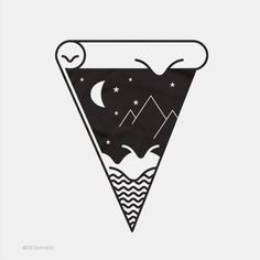 Illustration Black and White tattooed threadless tattoo designs tattoo drawing moon and stars night landscape pizza slice melting cheese 38 Sunsets outline art