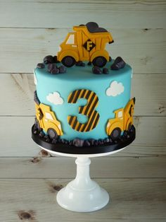 2nd Birthday Cake Boy, Truck Birthday Cakes, 2nd Birthday Party Themes, Birthday Ideas, Construction Party Cakes, Construction Birthday Parties, Construction Theme, Digger Cake, Cake Templates