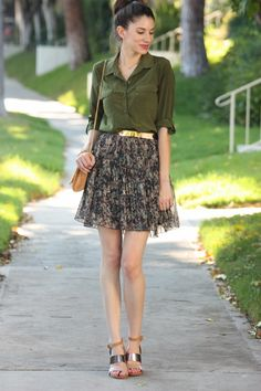 Army green blouse, fall floral skirt, gold plated belt