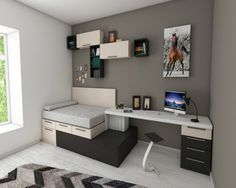 Cool Teenage Room Designs Bedroom Design Games Ideas For Guys Small Apartments, Small Spaces, Shelves In Bedroom, Bedroom Storage, Cluttered Bedroom, Book Shelves, Teenage Room, Teenage Bedrooms, Teenage Guys