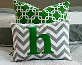 Chevron Monogrammed Pillow Cover - Grey and White Chevron with Grassy Green Monogram - Toddler Pillow - 12 x 16