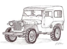 1948 Jeep With Hardtop For The Coloring Book