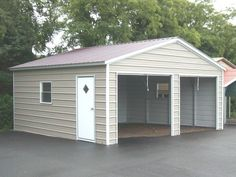 18' x 21' x 7' Vertical Roof Double Car Garage. Ideal for storing mid-size cars, small trailers or other equipment.