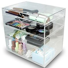 """Ikee Design® Acrylic Cosmetics Lipsticks Makeup Organizer Holder Box with 4 Removable Drawers , 10""""W x 7""""D x 9 1/2""""H. Made in Taiwan."""