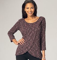 Knit tunic tops have overlapping fronts. New sewing pattern from Kwik Sew. K4135, Misses' Tops