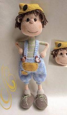 Crochet Dolls Free Patterns, Amigurumi Patterns, Crochet Toys, Baby Shawer, Thick Yarn, Cast Off, Boy Doll, Amigurumi Doll, Doilies