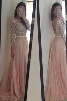 Elegant Prom Dress,Blush Pink Chiffon Long Prom Dress with Full Sleeve,Backless…