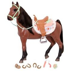 "Champion Brown BAY HORSE+Saddle Riding SET for My Life As American Girl 18/"" Doll"