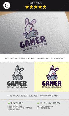 Rabbit Gamer #Logo Design - Animals Logo Templates Download here:  https://graphicriver.net/item/rabbit-gamer-logo-design/19734162?ref=alena994