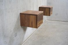 Pair of Solid Black Walnut Floating Wall-Mount Nightstand/ Bedside Table with Drawer