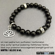 Use #Black #Onyx to encourage #happiness and good #fortune. A #strength-giving #stone, it helps one to become master of their own future.  #OM #Om #Mani #Padme #Hum #Buddhist #Lotus #fertility  #Beaded #Beads #Bijoux #Bracelet #Bracelets #Buddhist #Chakra #Charm #Crystals #Energy #gifts #gratitude #Handmade #Healing #Jewelry #Kundalini #LawOfAttraction #LOA #Love #Mala #Meditation #Mens #prayer #pulseiras #Reiki #Spiritual #Stacks #Stretch #Womens #Yoga #YogaBracelets
