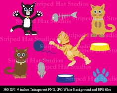 Cat Clipart Digital Designs instant by StripedHatCreations on Etsy
